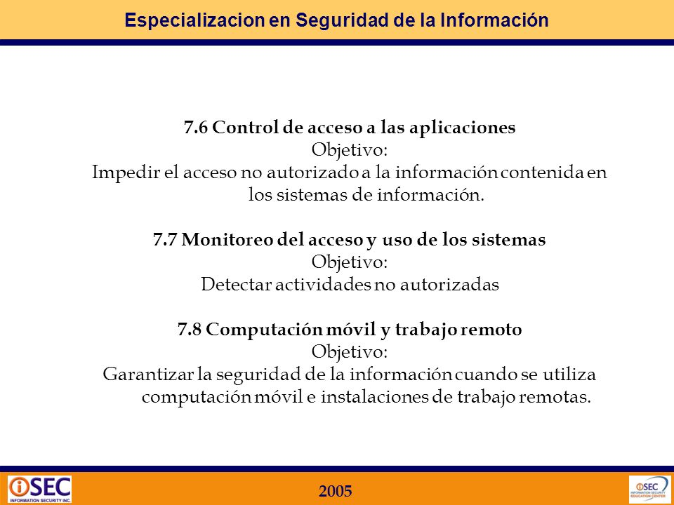 7.6 Control de acceso a las aplicaciones Objetivo: