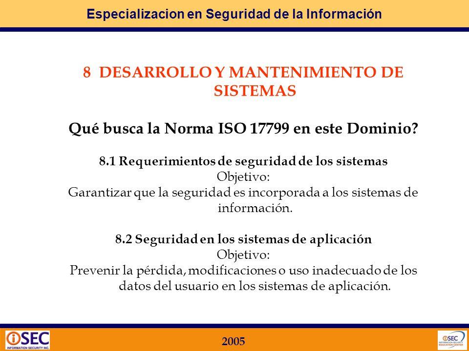 8 DESARROLLO Y MANTENIMIENTO DE SISTEMAS