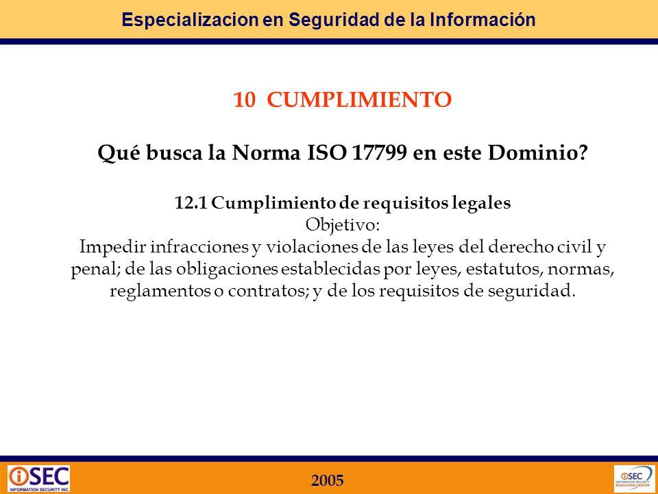 12.1 Cumplimiento de requisitos legales