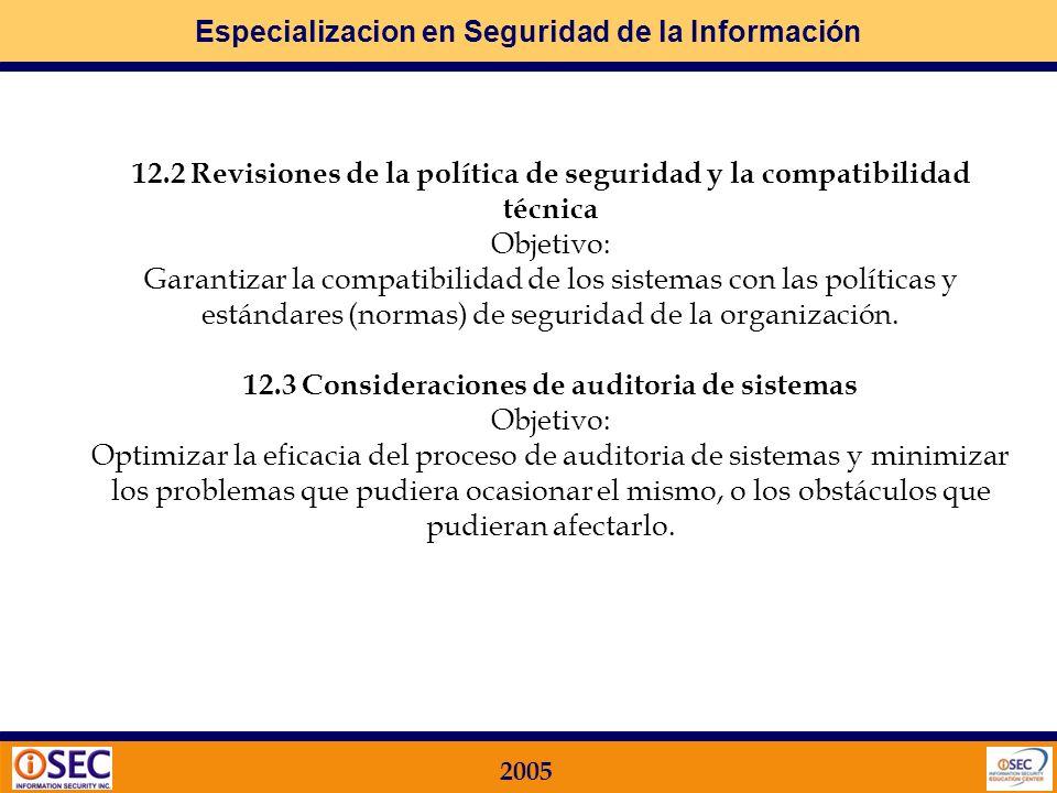 12.3 Consideraciones de auditoria de sistemas