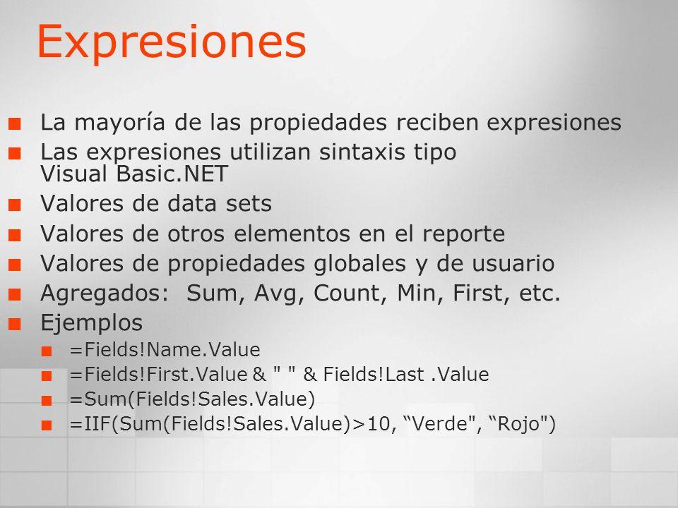 Expresiones La mayoría de las propiedades reciben expresiones