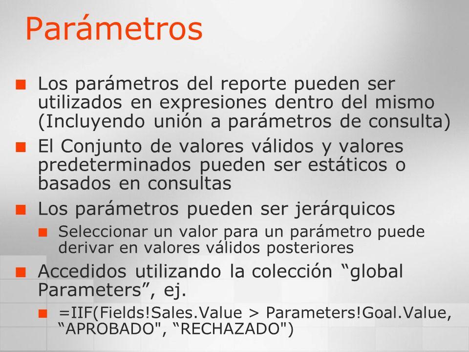 ParámetrosLos parámetros del reporte pueden ser utilizados en expresiones dentro del mismo (Incluyendo unión a parámetros de consulta)