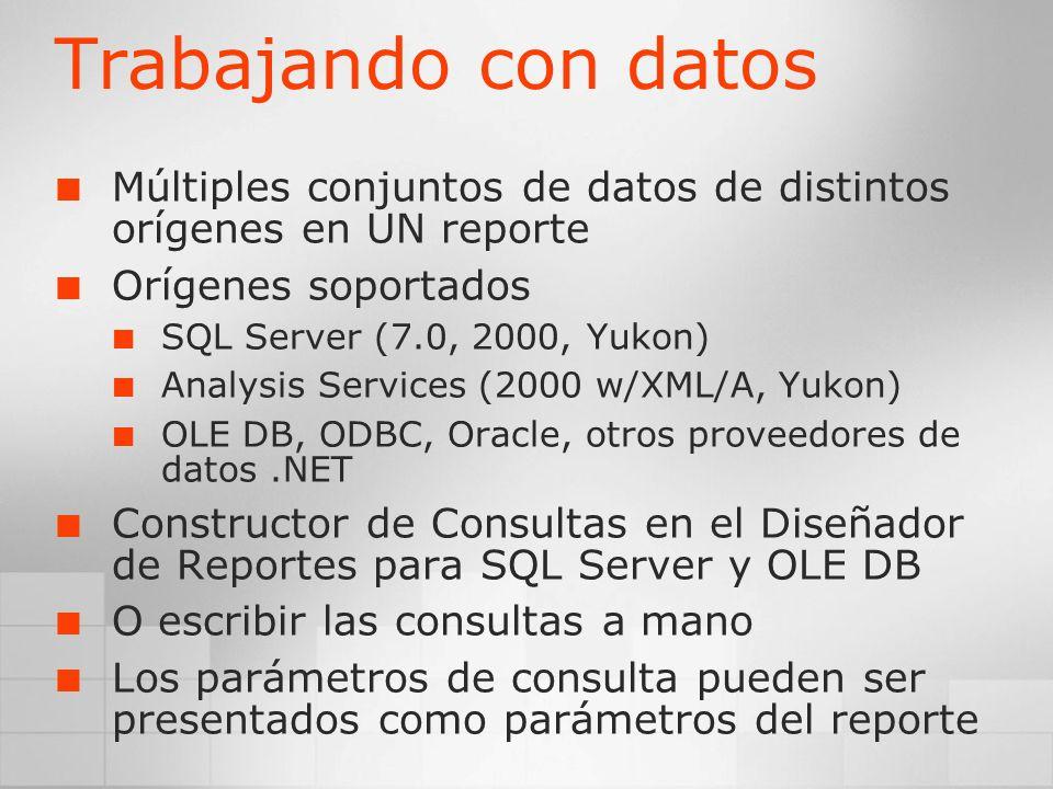 Trabajando con datosMúltiples conjuntos de datos de distintos orígenes en UN reporte. Orígenes soportados.