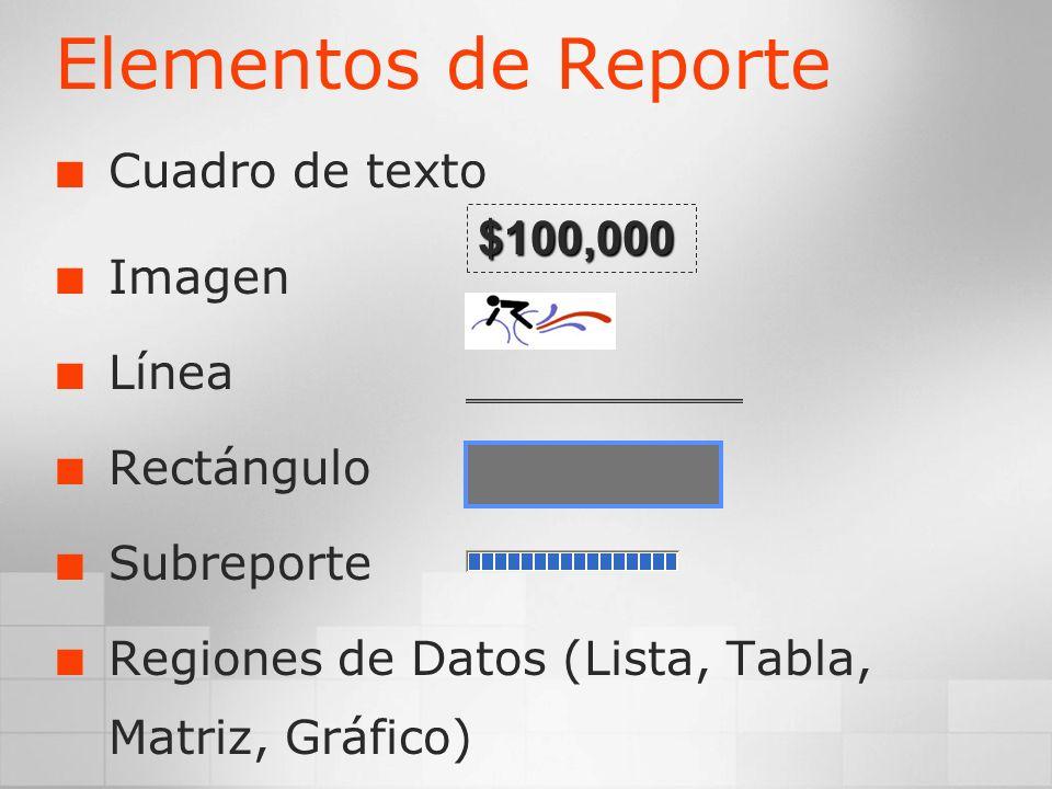 Elementos de Reporte Cuadro de texto Imagen $100,000 Línea Rectángulo
