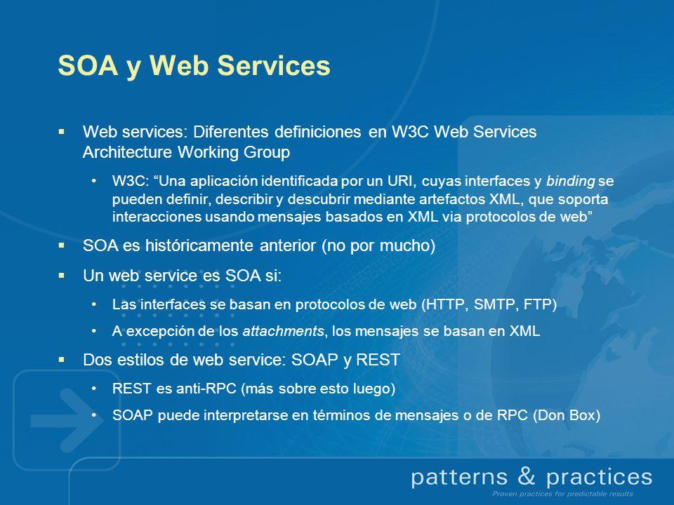 SOA y Web Services Web services: Diferentes definiciones en W3C Web Services Architecture Working Group.