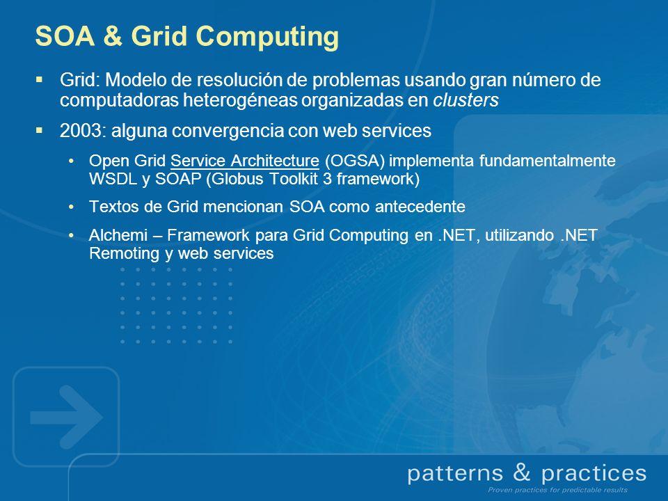 SOA & Grid Computing Grid: Modelo de resolución de problemas usando gran número de computadoras heterogéneas organizadas en clusters.
