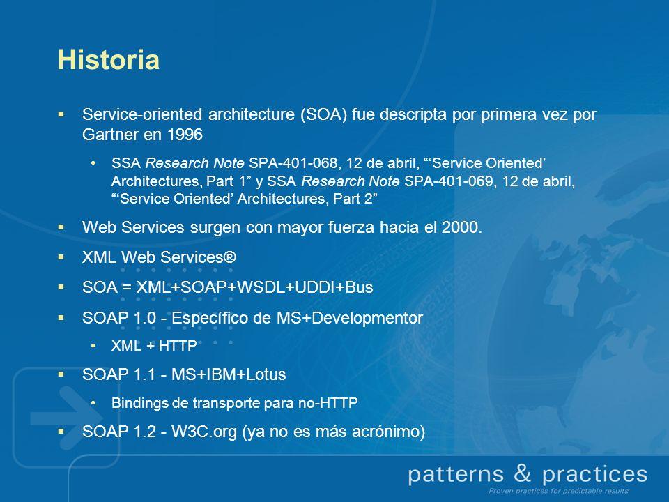Historia Service-oriented architecture (SOA) fue descripta por primera vez por Gartner en 1996.