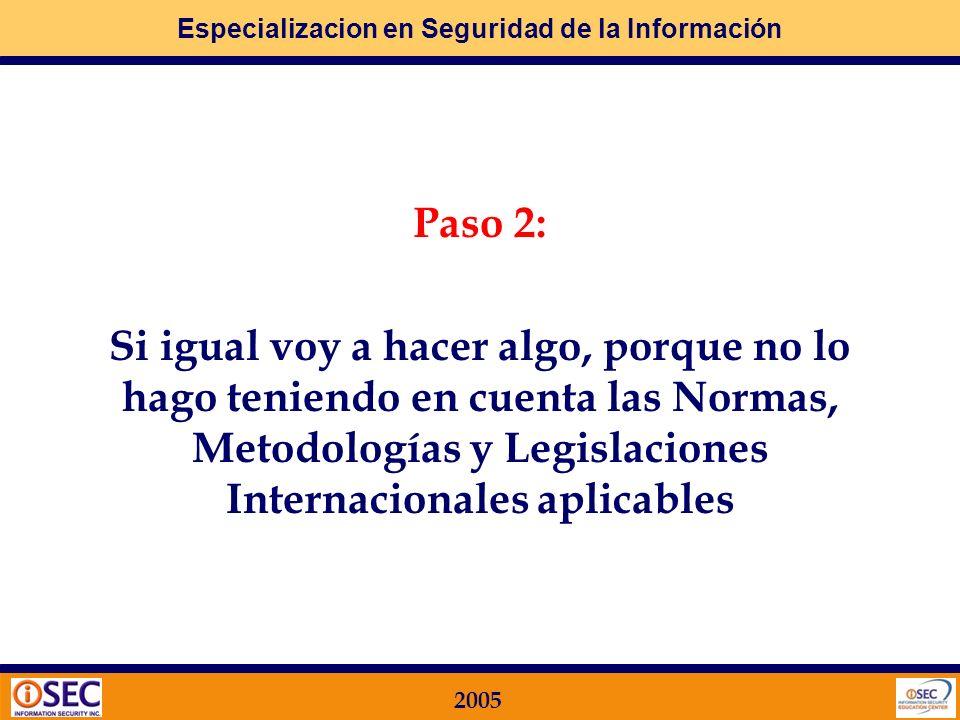 Paso 2:Si igual voy a hacer algo, porque no lo hago teniendo en cuenta las Normas, Metodologías y Legislaciones Internacionales aplicables.