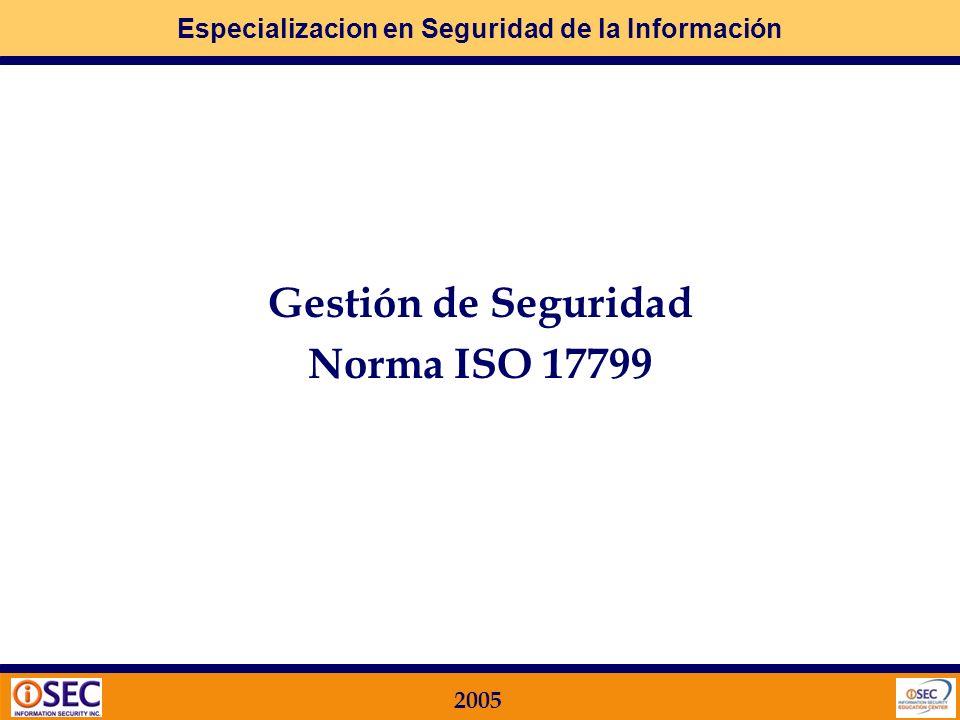 Gestión de Seguridad Norma ISO 17799