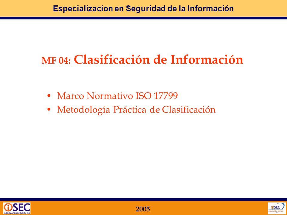 MF 04: Clasificación de Información