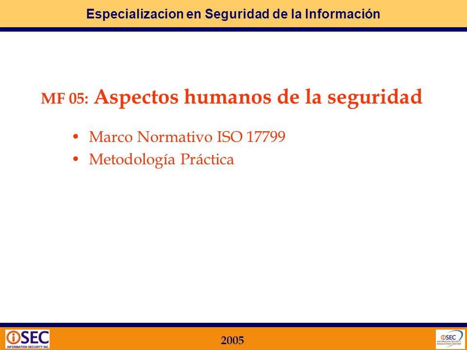 MF 05: Aspectos humanos de la seguridad