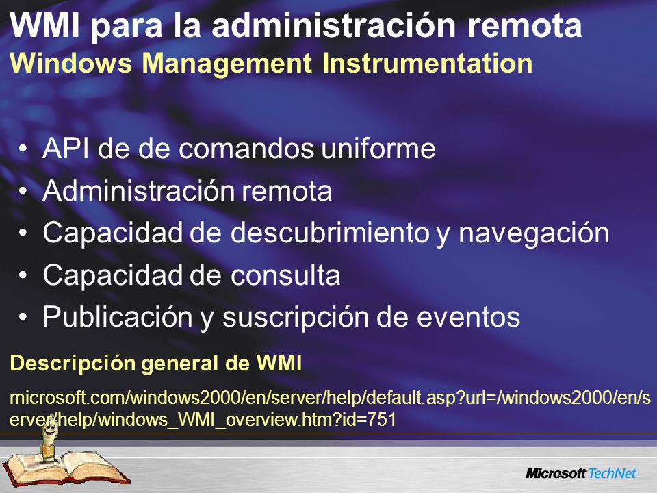 WMI para la administración remota Windows Management Instrumentation