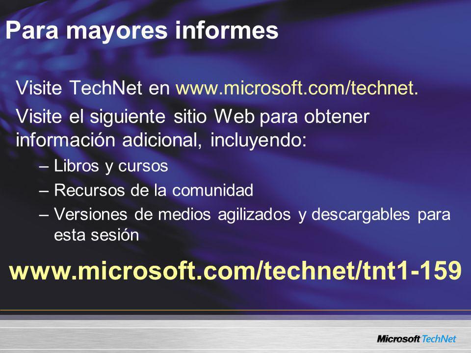 www.microsoft.com/technet/tnt1-159 Para mayores informes