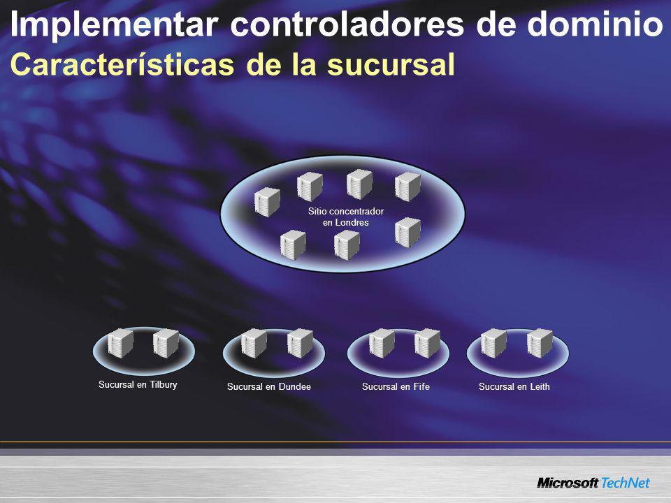 Implementar controladores de dominio Características de la sucursal