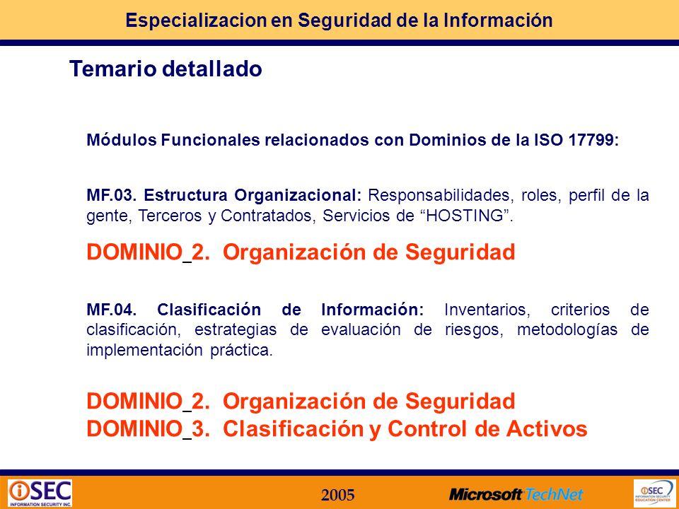 DOMINIO 2. Organización de Seguridad