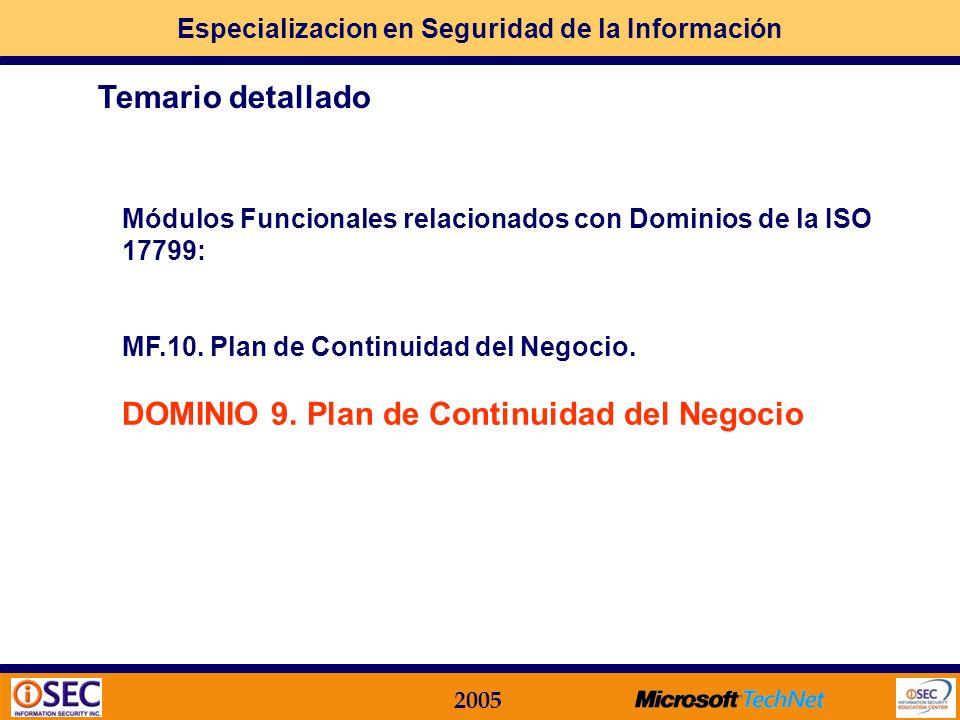DOMINIO 9. Plan de Continuidad del Negocio Temario detallado