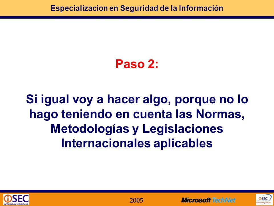 Paso 2: Si igual voy a hacer algo, porque no lo hago teniendo en cuenta las Normas, Metodologías y Legislaciones Internacionales aplicables.