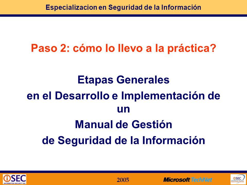 Paso 2: cómo lo llevo a la práctica Etapas Generales
