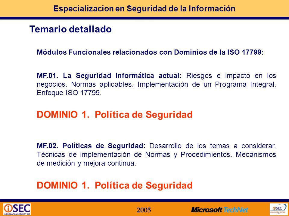 DOMINIO 1. Política de Seguridad Temario detallado
