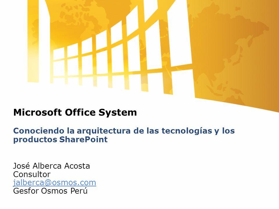 Microsoft Office System Conociendo la arquitectura de las tecnologías y los productos SharePoint