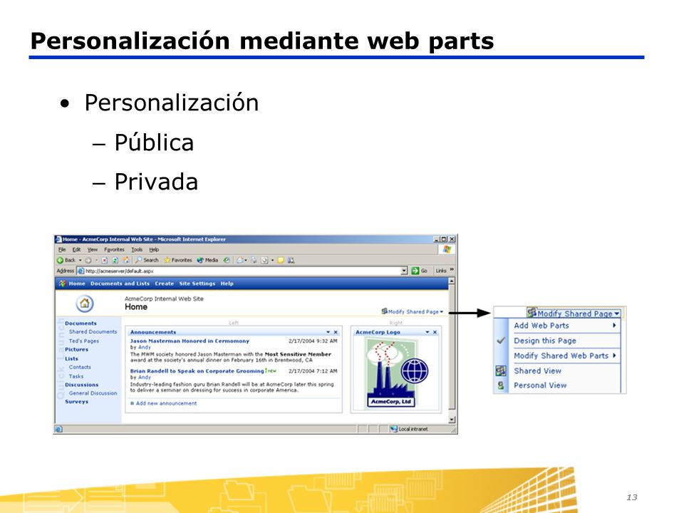 Personalización mediante web parts