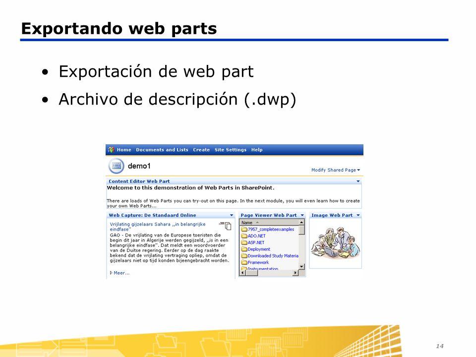Exportación de web part Archivo de descripción (.dwp)