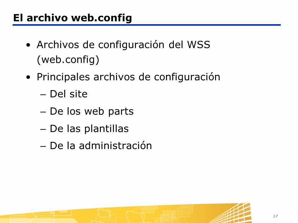 Archivos de configuración del WSS (web.config)