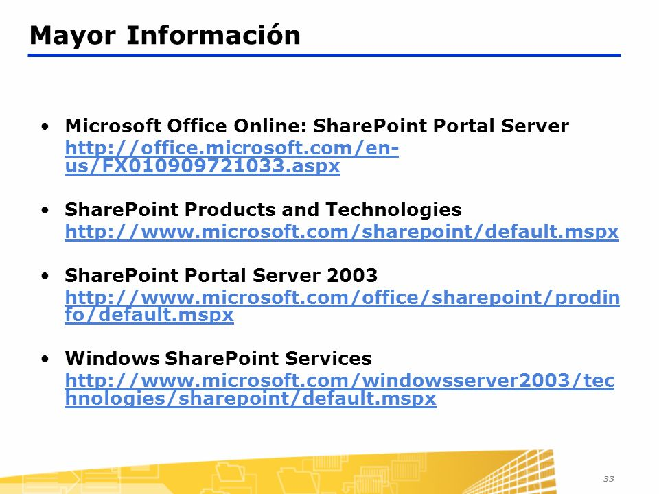 Mayor Información Microsoft Office Online: SharePoint Portal Server
