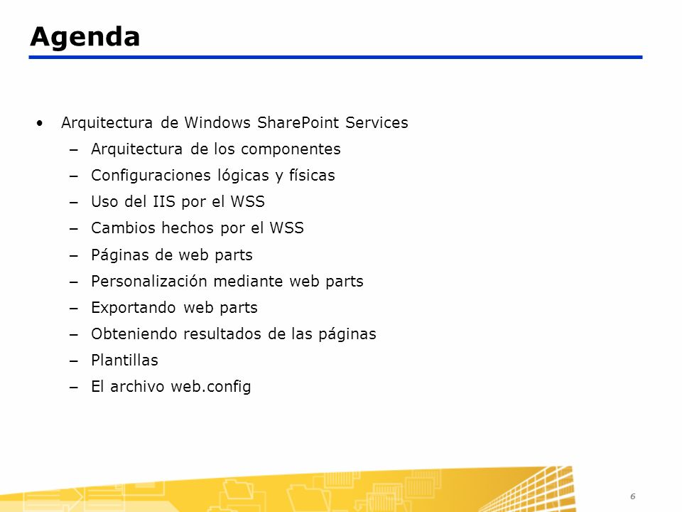 Agenda Arquitectura de Windows SharePoint Services