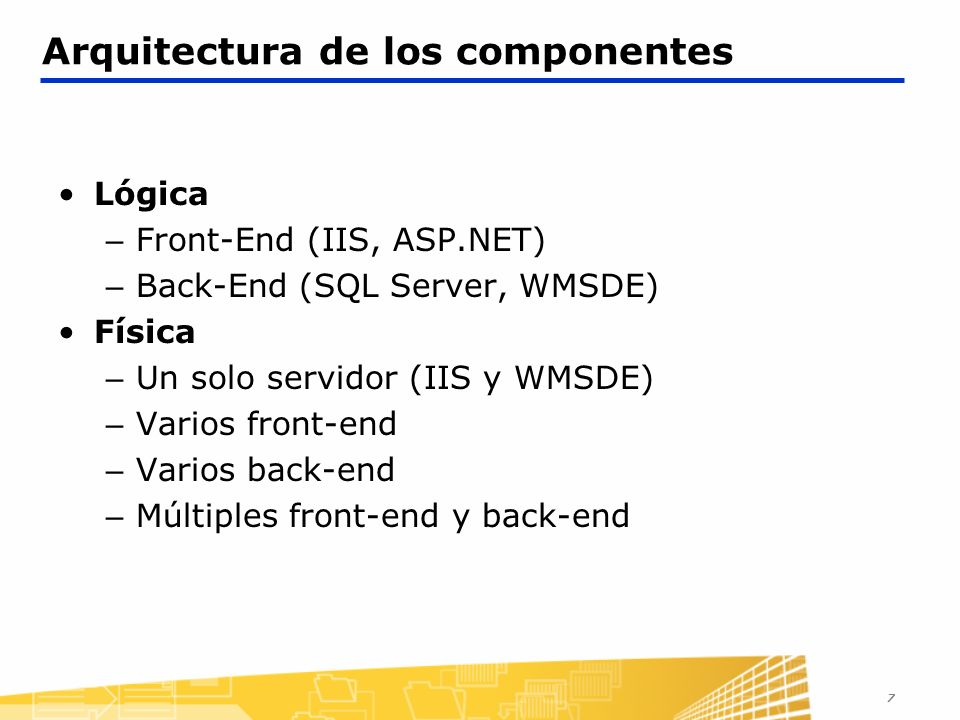 Arquitectura de los componentes