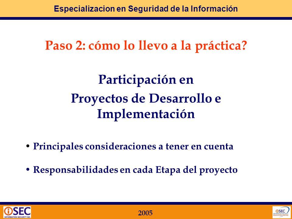 Paso 2: cómo lo llevo a la práctica Participación en