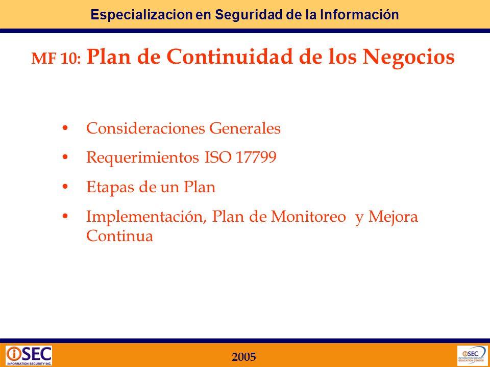 MF 10: Plan de Continuidad de los Negocios
