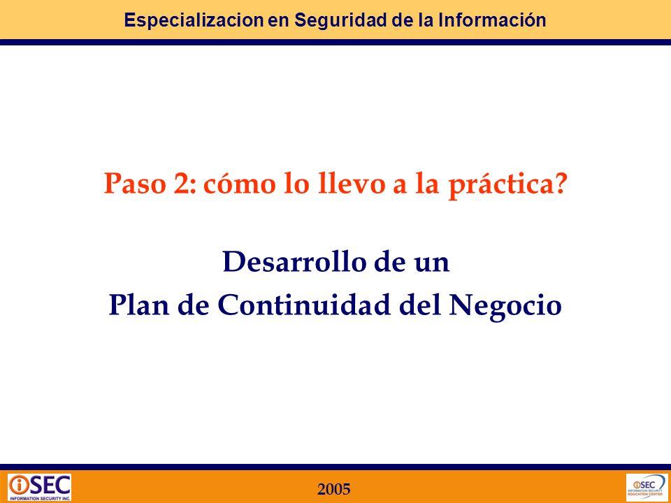 Paso 2: cómo lo llevo a la práctica Plan de Continuidad del Negocio