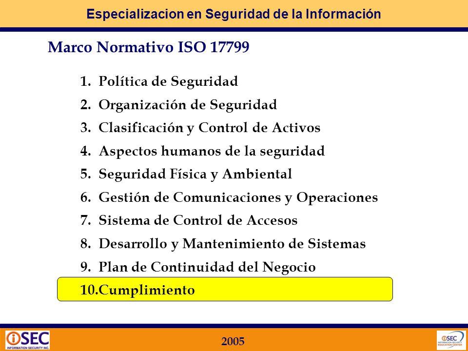 Marco Normativo ISO 17799 1. Política de Seguridad