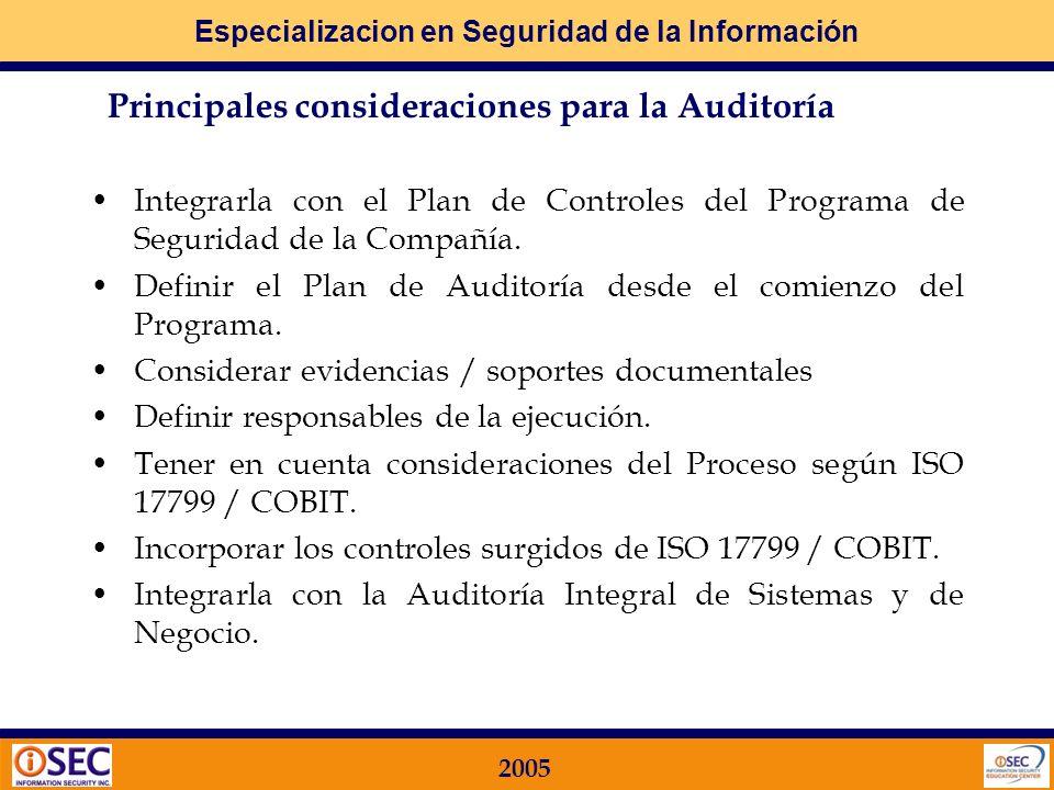 Principales consideraciones para la Auditoría