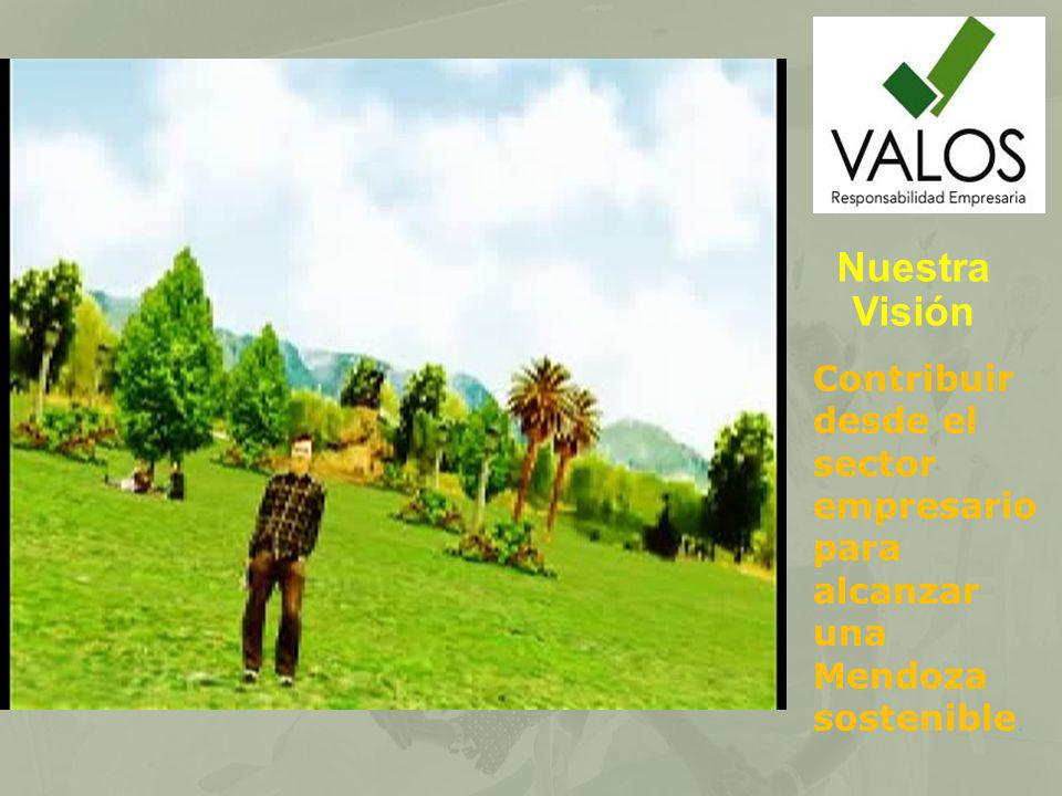 Nuestra Visión Contribuir desde el sector empresario para alcanzar una Mendoza sostenible.
