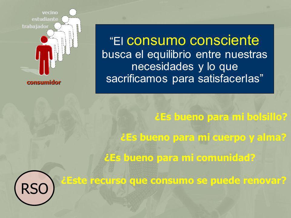 vecino estudiante. trabajador. El consumo consciente busca el equilibrio entre nuestras necesidades y lo que sacrificamos para satisfacerlas
