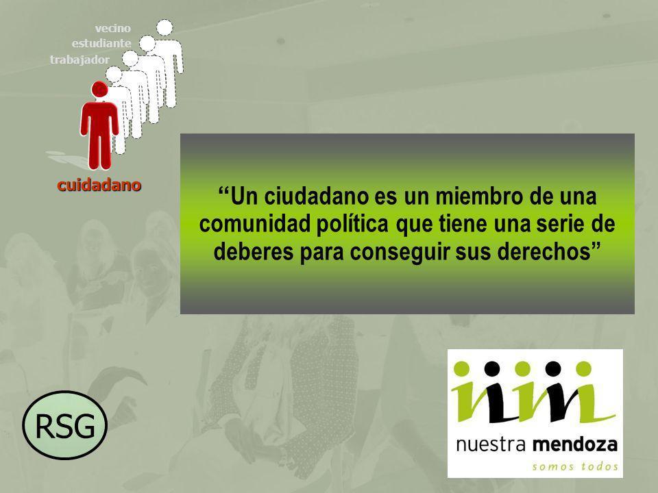 vecino estudiante. trabajador. Un ciudadano es un miembro de una comunidad política que tiene una serie de deberes para conseguir sus derechos