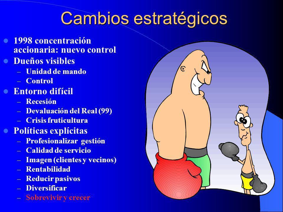 Cambios estratégicos 1998 concentración accionaria: nuevo control