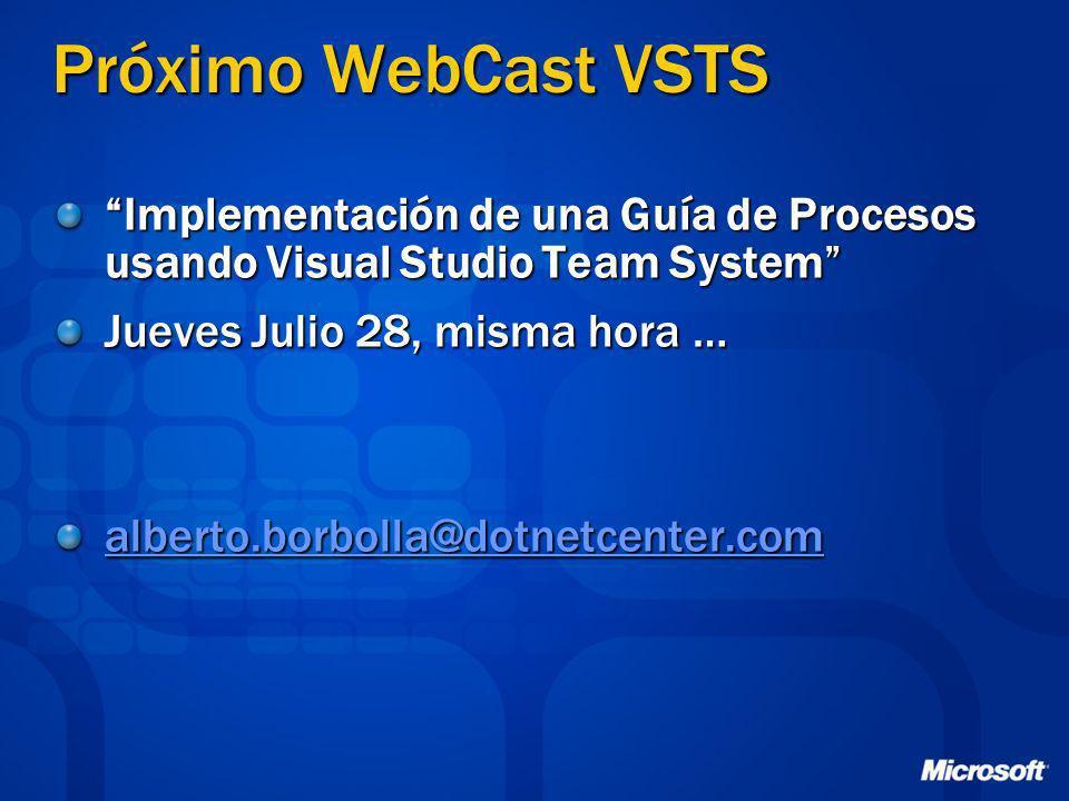Próximo WebCast VSTS Implementación de una Guía de Procesos usando Visual Studio Team System Jueves Julio 28, misma hora …