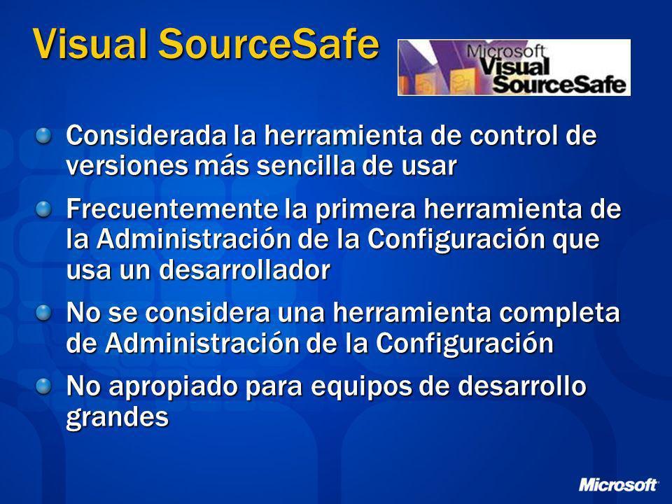 Visual SourceSafe Considerada la herramienta de control de versiones más sencilla de usar.