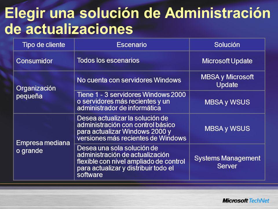 Elegir una solución de Administración de actualizaciones