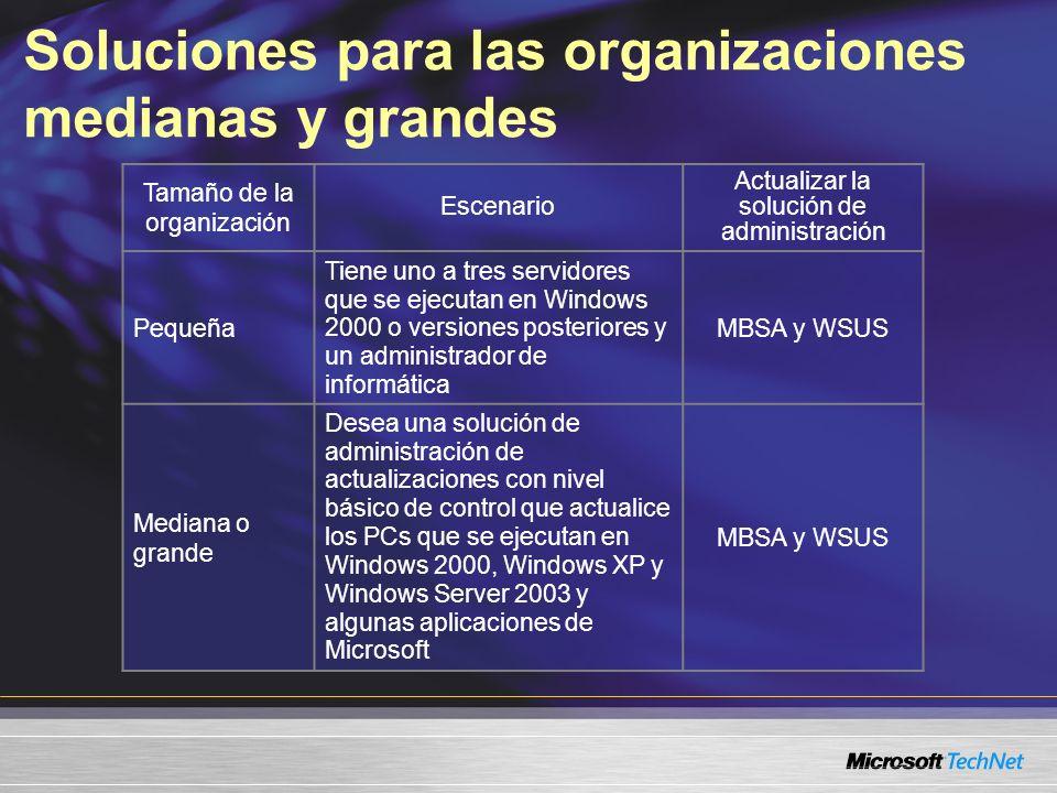 Soluciones para las organizaciones medianas y grandes