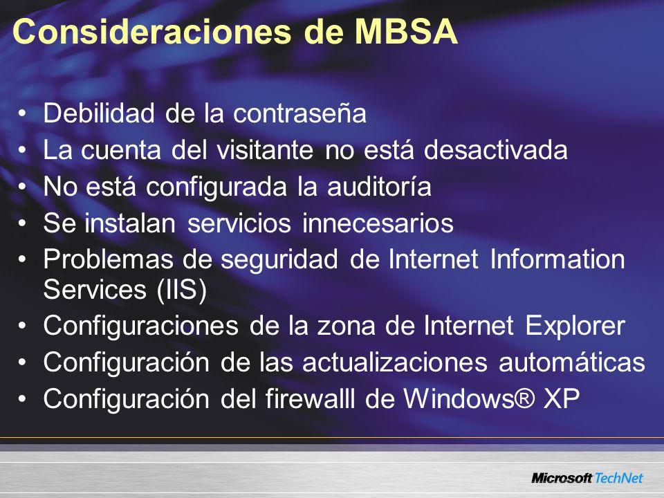 Consideraciones de MBSA
