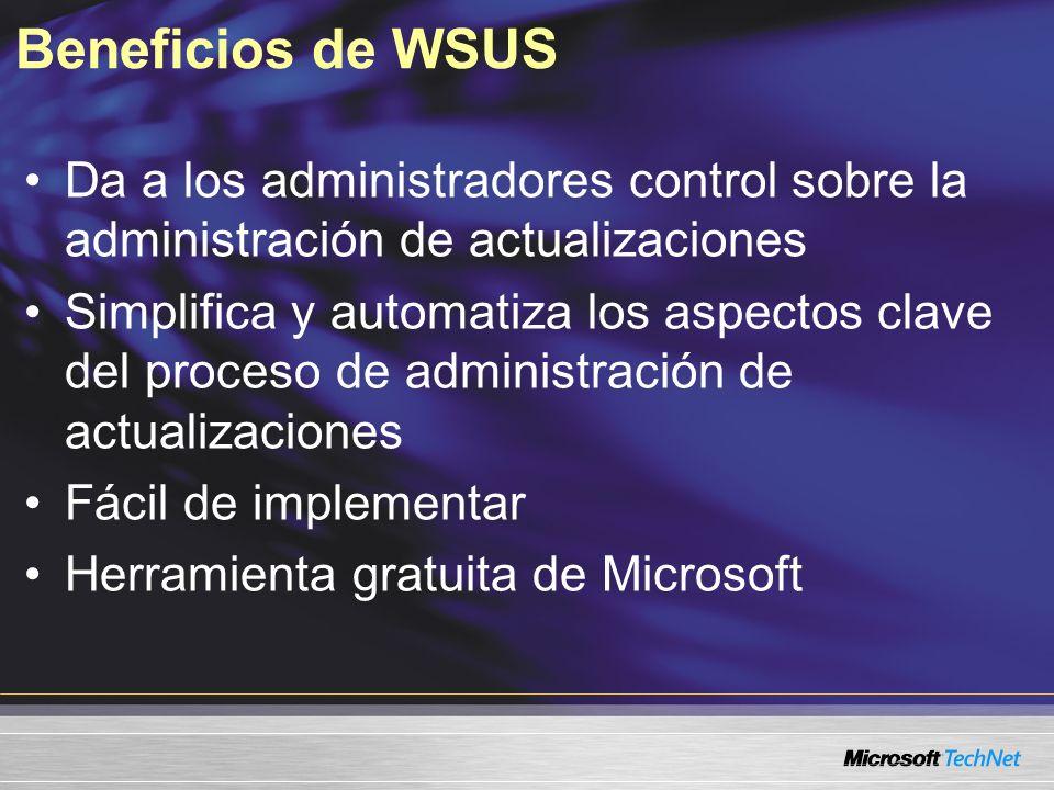 Beneficios de WSUS Da a los administradores control sobre la administración de actualizaciones.