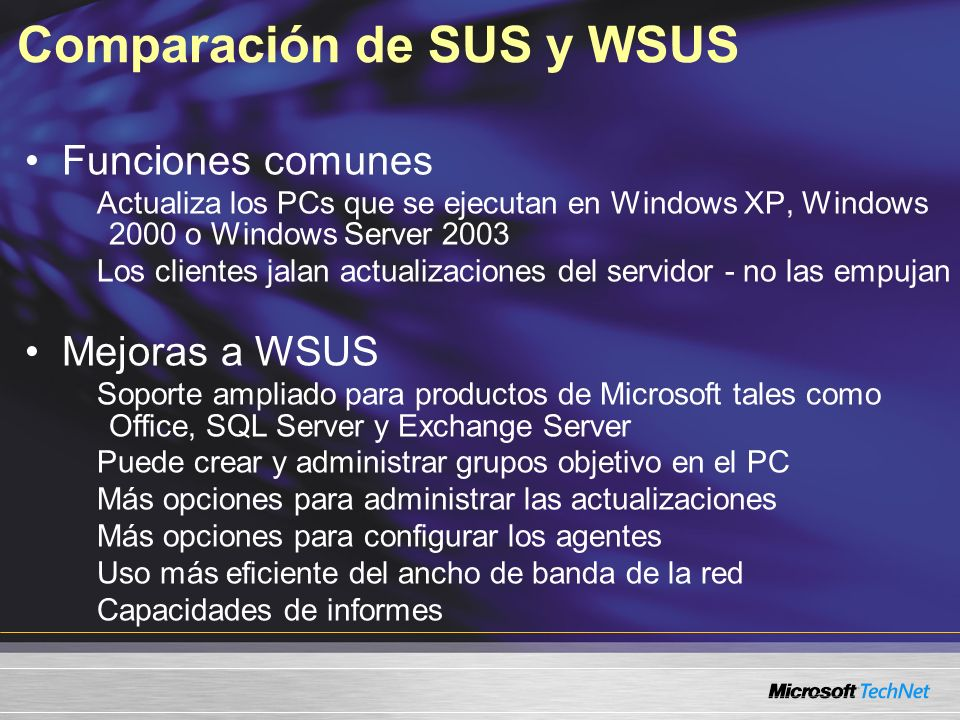 Comparación de SUS y WSUS