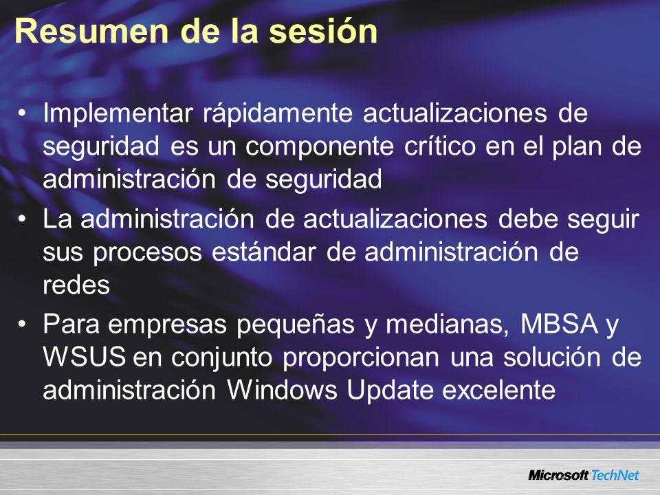 Resumen de la sesión Implementar rápidamente actualizaciones de seguridad es un componente crítico en el plan de administración de seguridad.