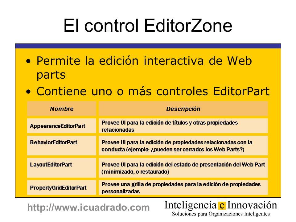 El control EditorZone Permite la edición interactiva de Web parts