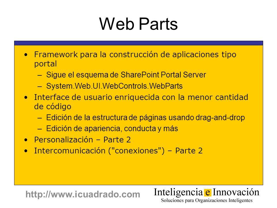 Web Parts Framework para la construcción de aplicaciones tipo portal