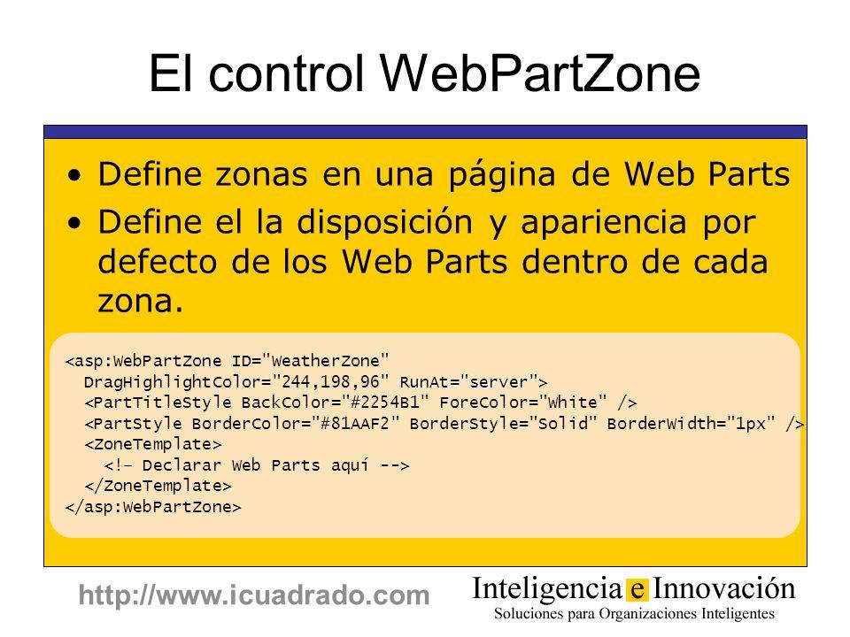 El control WebPartZone
